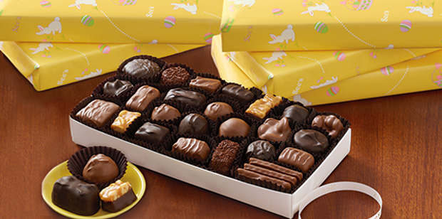 See's Business Gifts chocolate boxes wrapped in spring wrap
