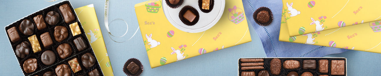 See's Easter Gift Wrapped Chocolate Boxes