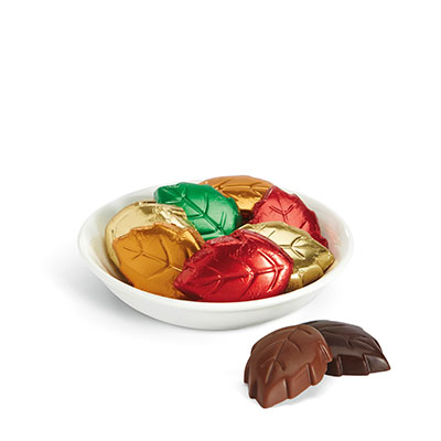 Colorful Chocolate Leaves in a candy dish