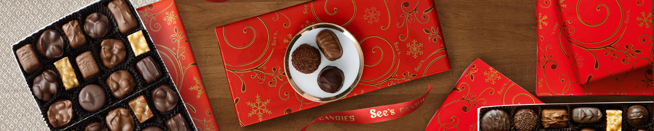 See's assortments wrapped in seasonal gift wrap